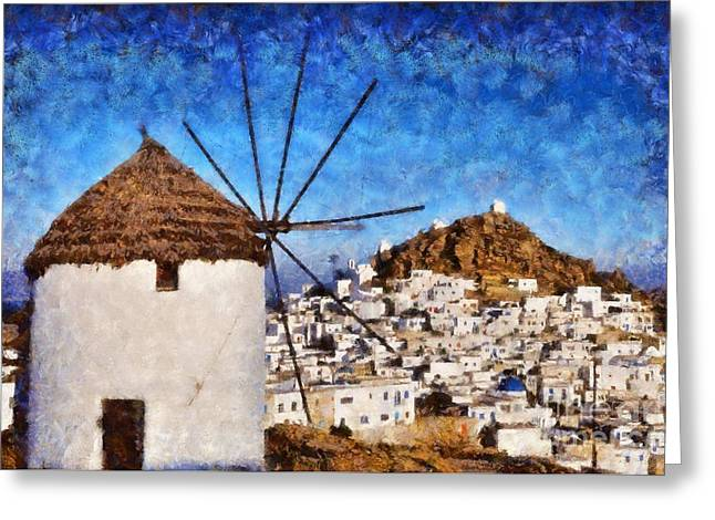 Ios Town And Windmill Greeting Card by George Atsametakis