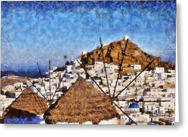 Aegean Greeting Cards - Ios town and windmills Greeting Card by George Atsametakis