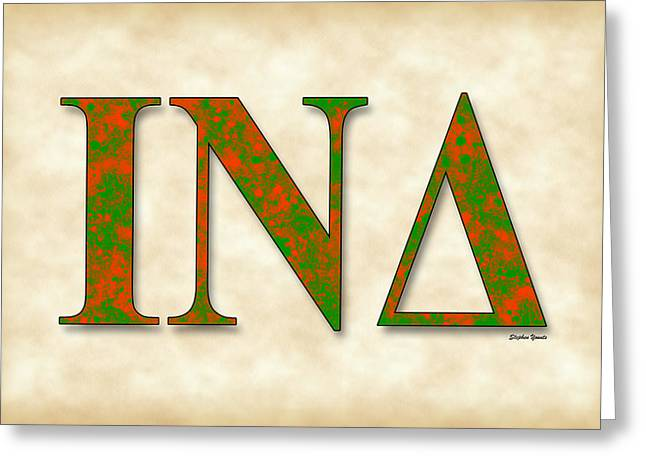 New Mind Digital Art Greeting Cards - Iota Nu Delta - Parchment Greeting Card by Stephen Younts