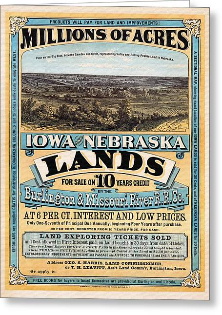 Lithograph Mixed Media Greeting Cards - Iowa and Nebraska Lands - 1872 Greeting Card by Mountain Dreams