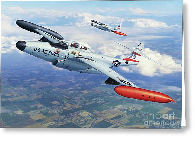 Interceptor Greeting Cards - Iowa ANG F-89J Scorpion Greeting Card by Stu Shepherd