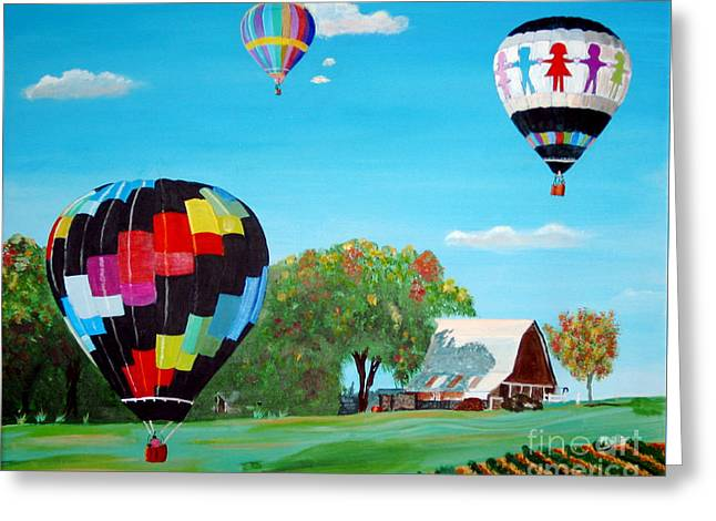 Fall Trees Greeting Cards - Iowa Balloons Greeting Card by Phyllis Kaltenbach