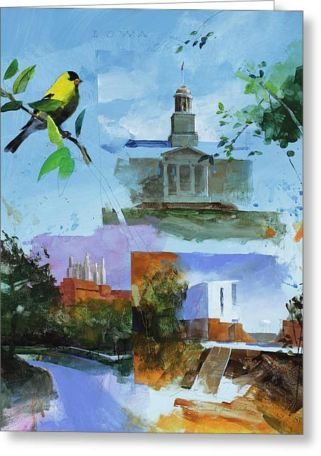 Iowa City Montage Greeting Card by Stan Fellows