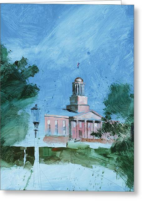 Iowa City Greeting Cards - Iowa City Old Cap Greeting Card by Stan Fellows