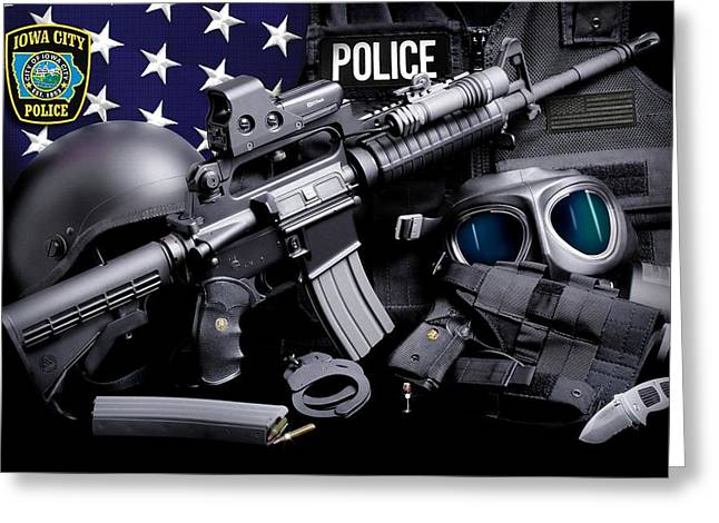 Iowa City Police Tactical Greeting Card by Gary Yost