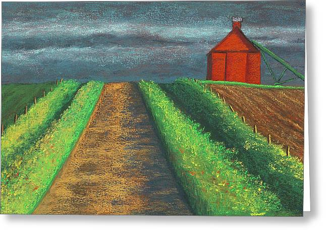 Storm Clouds Pastels Greeting Cards - Iowa Country Road Greeting Card by Garry McMichael