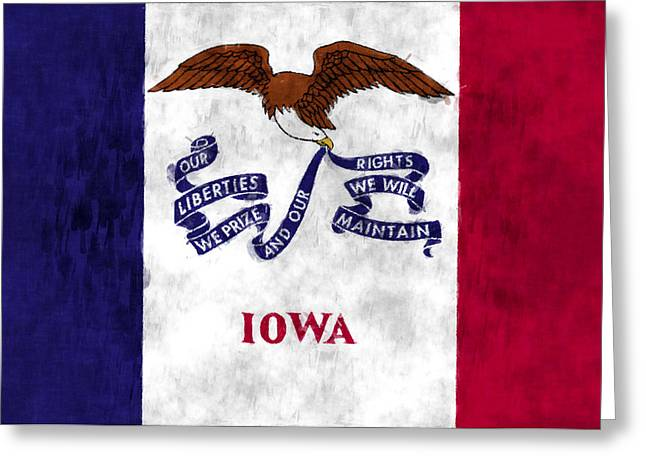 Flag Of Usa Greeting Cards - Iowa Flag Greeting Card by World Art Prints And Designs