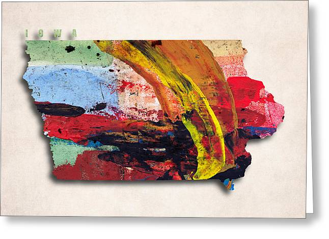 Abstract Map Greeting Cards - Iowa Map Art - Painted Map of Iowa Greeting Card by World Art Prints And Designs