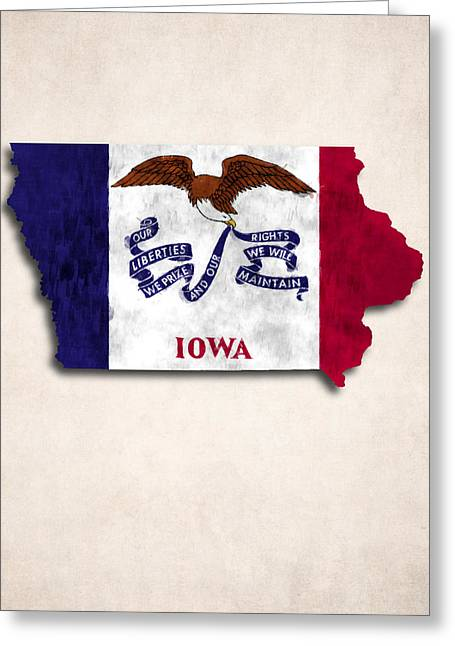 Geographic Digital Art Greeting Cards - Iowa Map Art with Flag Design Greeting Card by World Art Prints And Designs