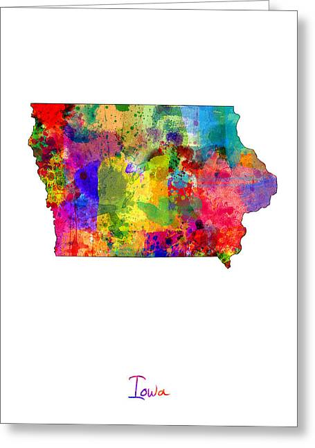 Usa Map Digital Greeting Cards - Iowa Map Greeting Card by Michael Tompsett
