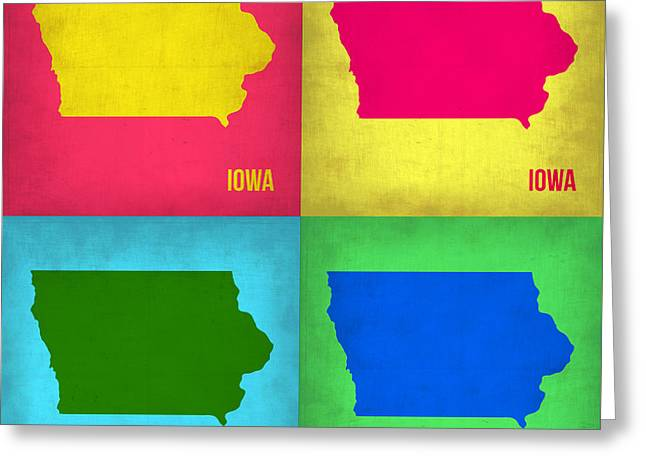 Iowa Pop Art Map 1 Greeting Card by Naxart Studio