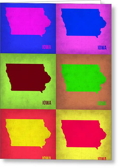 Iowa Pop Art Map 2 Greeting Card by Naxart Studio