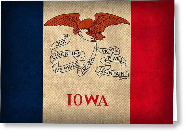 Des Moines Greeting Cards - Iowa State Flag Art on Worn Canvas Greeting Card by Design Turnpike