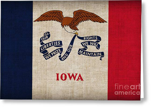 Iowa state flag Greeting Card by Pixel Chimp