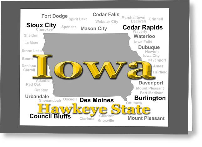 Storm Digital Art Greeting Cards - Iowa State Pride Map Silhouette  Greeting Card by Keith Webber Jr