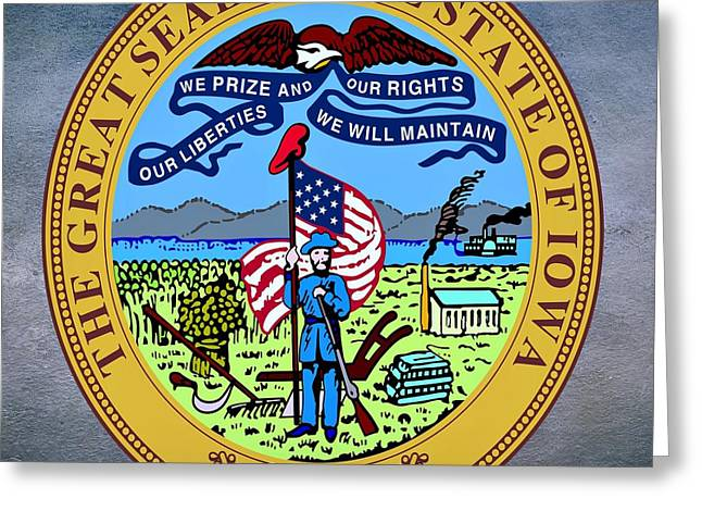 Citizens Greeting Cards - Iowa State Seal Greeting Card by Movie Poster Prints