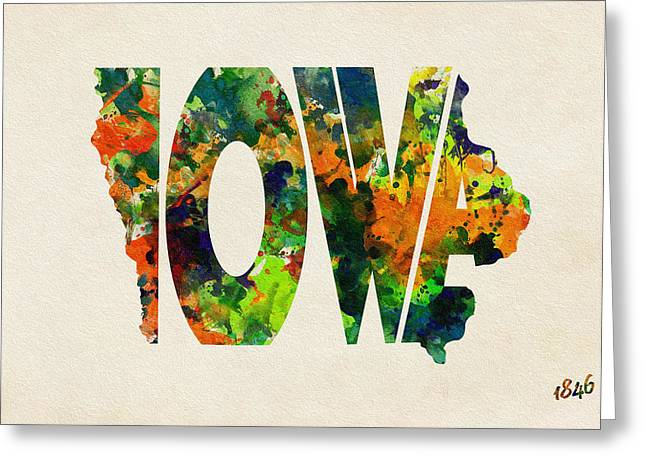 Limiting Ideas Greeting Cards - Iowa Typographic Watercolor Map Greeting Card by Ayse Deniz