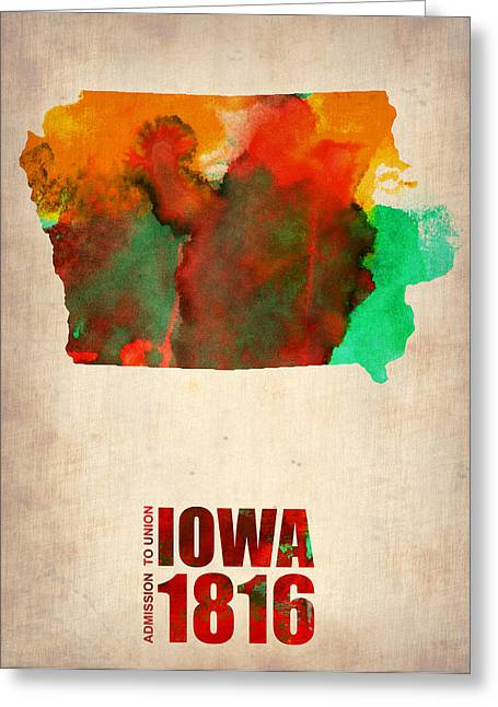Us State Map Greeting Cards - Iowa Watercolor Map Greeting Card by Naxart Studio