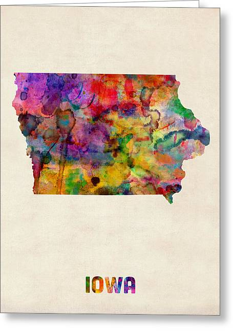 Iowa Watercolor Map Greeting Card by Michael Tompsett