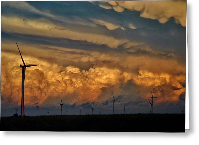 Power Plants Mixed Media Greeting Cards - Iowa Wind Farm 2 Greeting Card by Todd and candice Dailey