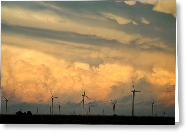 Power Plants Mixed Media Greeting Cards - Iowa Wind Farm Greeting Card by Todd and candice Dailey