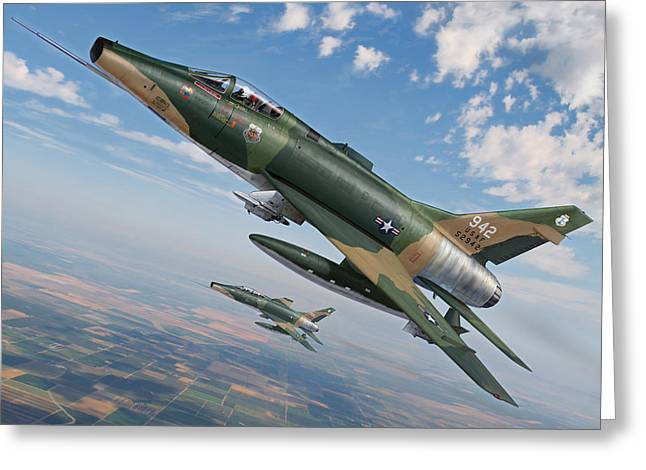 National Digital Art Greeting Cards - Iowas Bicentennial Warriors F-100 Super Sabres Greeting Card by Stu Shepherd