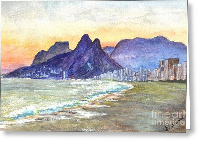 Beach Prints Drawings Greeting Cards - Sugarloaf Mountain and Ipanema Beach Sunset Rio DeJaneiro  Brazil Greeting Card by Carol Wisniewski
