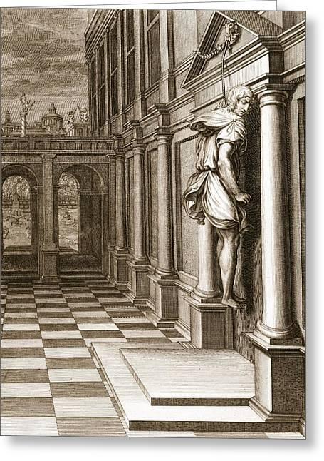 Iphis Hangs Himself In Despair That Greeting Card by Bernard Picart