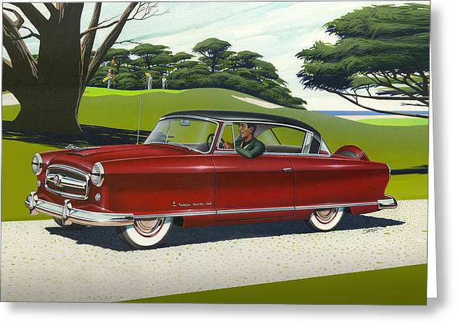 American Automobiles Paintings Greeting Cards - iPhone - Galaxy Case - 1953 Nash Rambler car americana rustic rural country auto antique painting Greeting Card by Walt Curlee