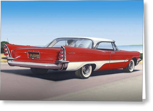 American Automobiles Paintings Greeting Cards - iPhone - Galaxy Case - 1957 De Soto car nostalgic rustic americana antique car Greeting Card by Walt Curlee