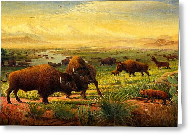 The American Buffalo Paintings Greeting Cards - iPhone - Galaxy Case - Buffalo Fox Great Plains western Landscape oil painting - Bison - americana  Greeting Card by Walt Curlee