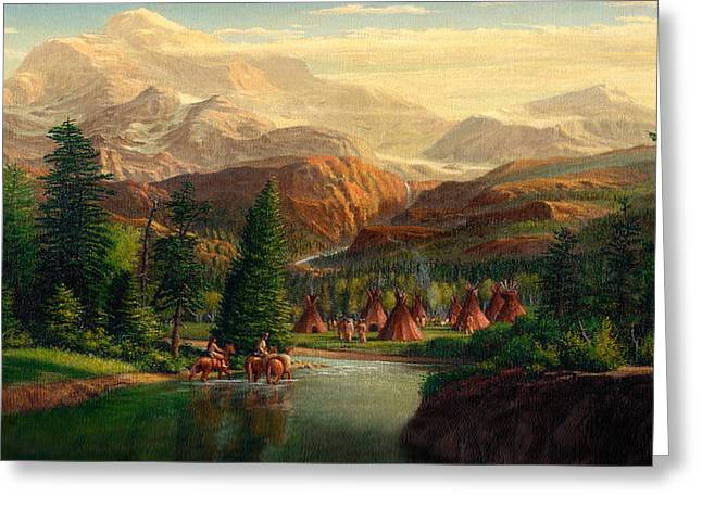 Tipis Greeting Cards - iPhone - Galaxy Case - Indian Village Trapper western mountain landscape oil painting Greeting Card by Walt Curlee