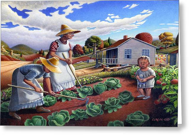 Amish Family Paintings Greeting Cards - iPhone Case - Family Vegetable Garden Farm Landscape - Gardening - Homestead Greeting Card by Walt Curlee