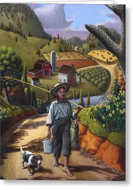 Amish Farms Paintings Greeting Cards - iPhone Case - Folk Art Farm - Boy and Dog Farm Landscape - americana Greeting Card by Walt Curlee