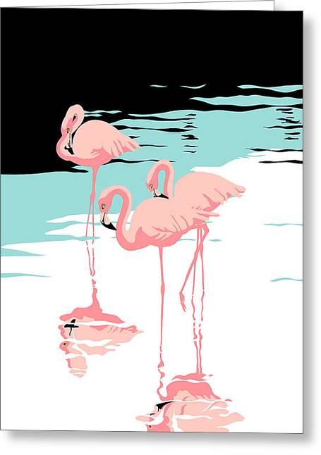 Hores Greeting Cards - iPhone Case - Pink Flamingos - tropical 1980s abstract -  pop art nouveau - retro florida Greeting Card by Walt Curlee