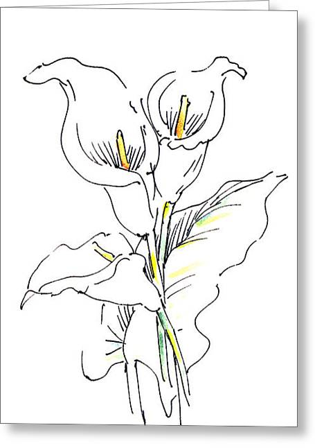 Calla Lily Drawings Greeting Cards - iPhone-Case-Lily-Painting2 Greeting Card by Gordon Punt