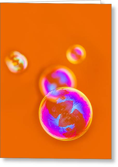 Mobile Designs Greeting Cards - iPhone Case - Orange Bubbles Greeting Card by Alexander Senin