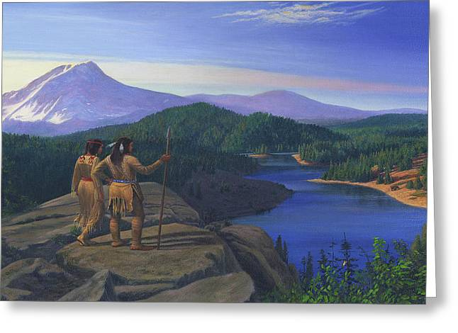 Chinook Paintings Greeting Cards - iPhone - Galaxy Case Native American Indian Maiden And Warrior Western Mountain Landscape Greeting Card by Walt Curlee