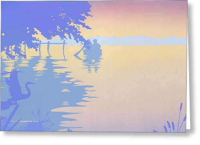 Water Themed Paintings Greeting Cards - iPhone - Galaxy Case tropical boat Dock Sunset large pop art nouveau retro 1980s florida seascape Greeting Card by Walt Curlee