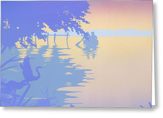1980s Greeting Cards - iPhone - Galaxy Case tropical boat Dock Sunset large pop art nouveau retro 1980s florida seascape Greeting Card by Walt Curlee