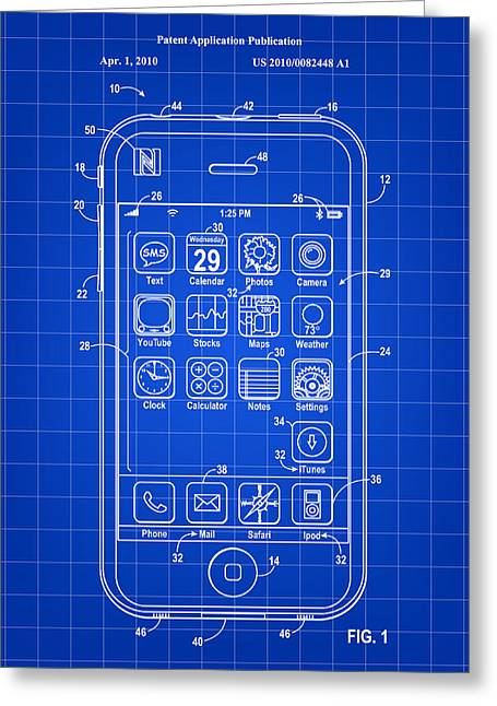Job Greeting Cards - iPhone Patent - Blue Greeting Card by Stephen Younts