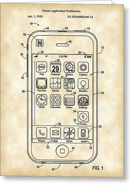 iPhone Patent - Vintage Greeting Card by Stephen Younts