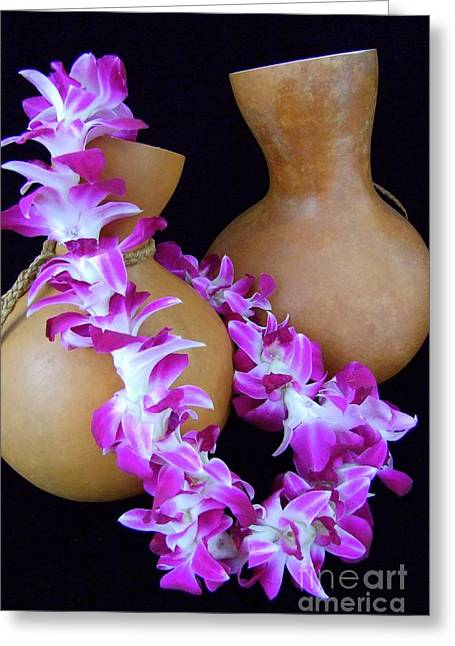 Featured Art Greeting Cards - Ipu and Orchid Lei Greeting Card by Mary Deal