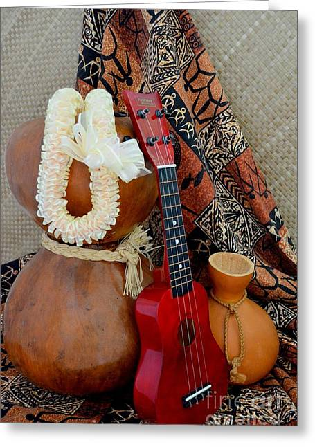 Lauhala Greeting Cards - Ipu Heke and Red Ukulele with White Satin Lei Greeting Card by Mary Deal