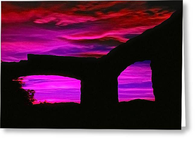 Ir Greeting Cards - IR Ruins Sunset Greeting Card by Bill Caldwell -        ABeautifulSky Photography