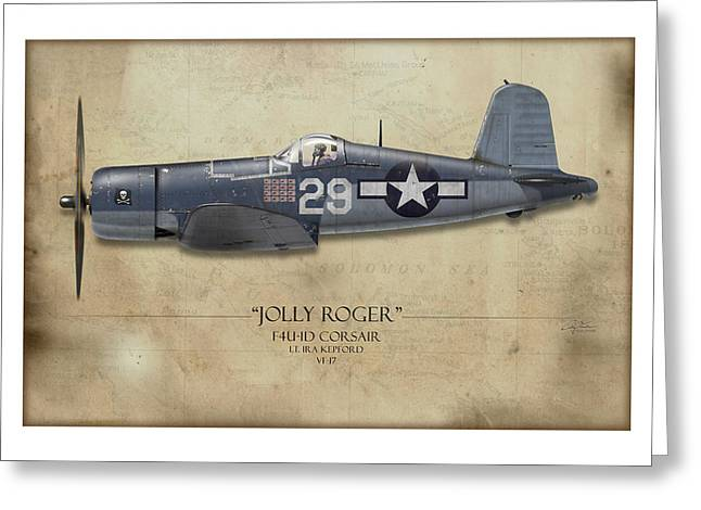 Aircraft Carrier Greeting Cards - Ira Kepford F4U Corsair - Map Background Greeting Card by Craig Tinder