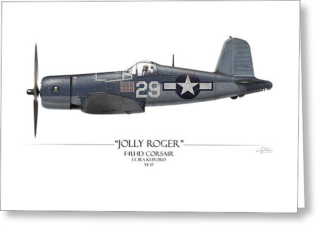 Aircraft Carrier Greeting Cards - Ira Kepford F4U Corsair - White Background Greeting Card by Craig Tinder