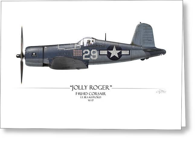 Ira Kepford F4U Corsair - White Background Greeting Card by Craig Tinder