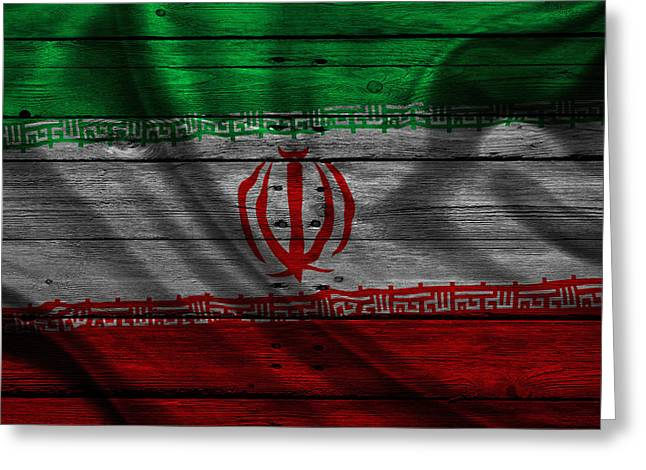 Flag Pole Greeting Cards - Iran Greeting Card by Joe Hamilton