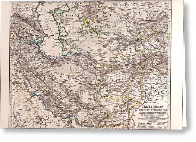 Iran Persia Map 1876 Gotha Justus Perthes Atlas Greeting Card by English School